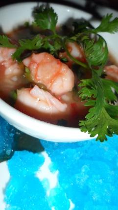 Course 1: Halibut and shrimp sangria ceviche