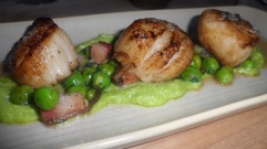 Perfect scallops with English peas, Terrain bacon, horseradish, and locally awesome red bee honey
