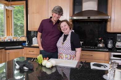 Mo Rocca and Ruth Teig during an episode of My Grandmother's Ravioli, Courtesy Cooking Channel