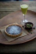 Chocolate Cardamom Tart with Mango with Mango Lassi image