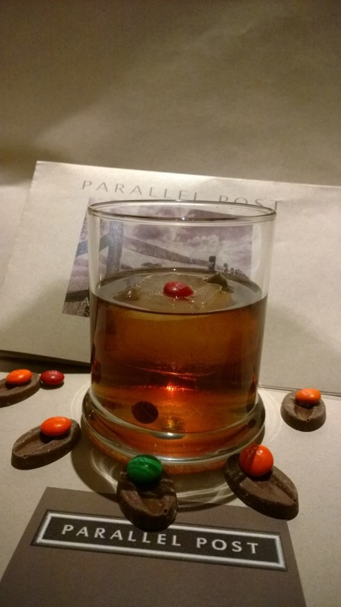 Chocolate Moonshine Manhattan on the Rocks