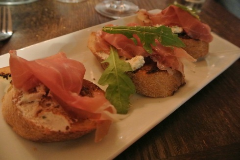 Bread, goat cheese, prosciutto...can ya really go wrong?