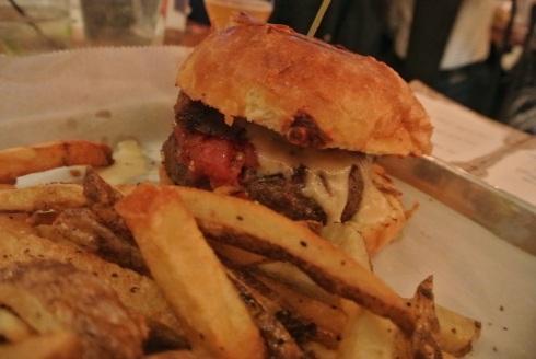 Crispy pork belly on a burger?  Sign us up!