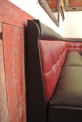 Beautiful leather benches at Little Pub Greenwich