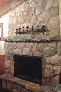 The fireplace by the bar