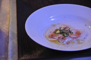 Scallop carpaccio from South End in New Canaan, CT