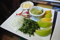 Accompanying sides for the taco platter at Salsa Picante in Port Chester, NY