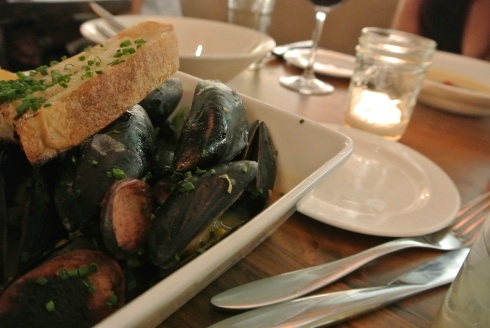 Mussels with kielbasa at Firebox in Hartford, CT