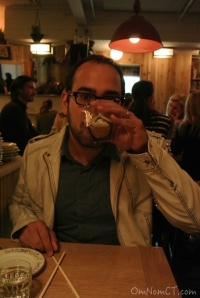 Dan taking a sake bomb at Kawa Ni in Westport