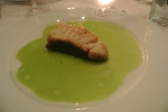 Sea Bass in a Green Pea Sauce at Bistro Versailles in Greenwich, CT