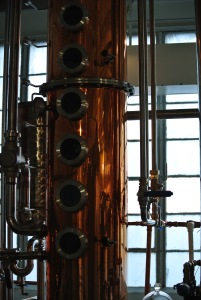 The beautiful copper steps for distilling at Neversink Spirits in Port Chester, NY