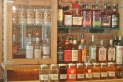 Moonshine, bourbon, and whiskey collection at Hoodoo Brown BBQ in Ridgefield