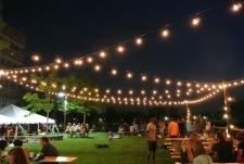 Night time at The Beer Garden at Shippan Landing