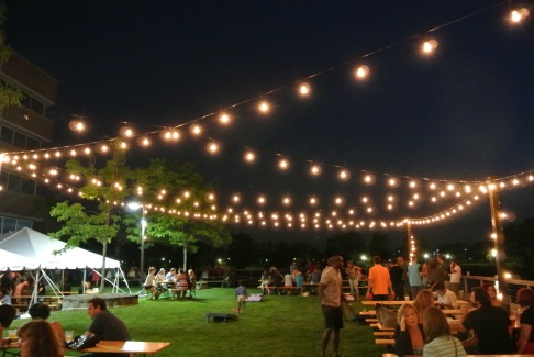 Night time at The Beer Garden at Shippan Landing