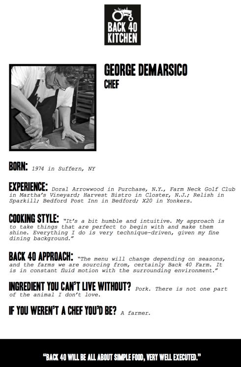 Back 40 Kitchen Chef DeMarsico