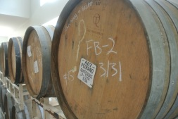 Beer aging in barrels at Kent Falls Brewing