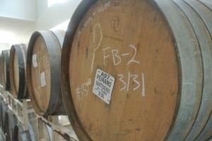 Beer aging in barrels at Kent Falls Brewing