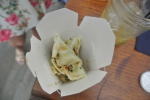 Edamame dumplings at The Landing