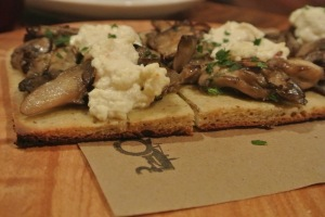 Mushroom and ricotta flatbread  at Back 40 Kitchen in Greenwich CT