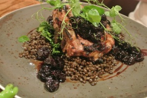 T-bone Porkchop with black lentils  at Back 40 Kitchen in Greenwich CT