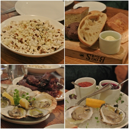 Popcorn, freshly made bread, grilled oysters, and oysters from Greenwich
