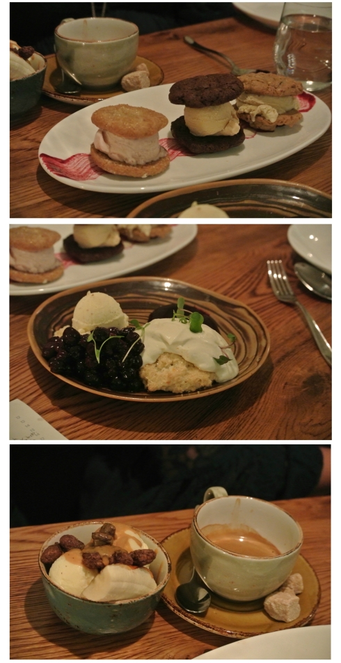 Trio of desserts: mini-ice cream sandwiches, blueberry shortcake, and dulce de leche sundae