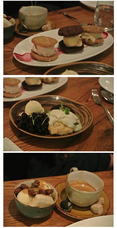 Trio of desserts: mini-ice cream sandwiches, blueberry shortcake, and dulce de leche sundae