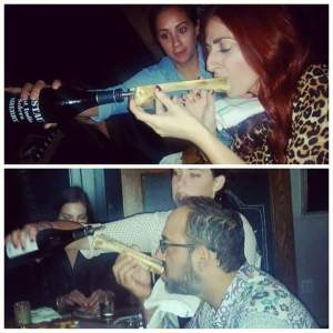 Kristien and Dan taking shots of Sherry through a Bone Marrow Luge at The Whelk