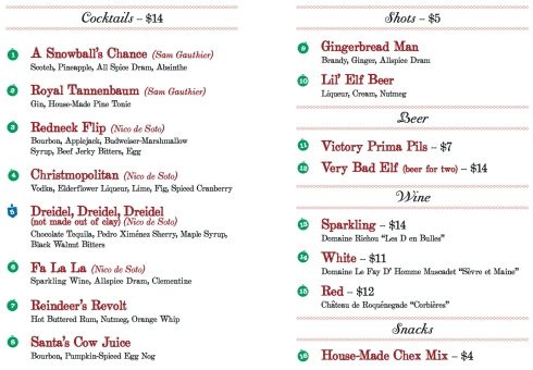 A Miracle on Wall Street Cocktail Menu