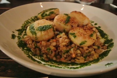 Chic pea busted scallops at Sugar & Olives in Norwalk CT