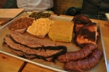 Brisket, sausage, chicken, cornbread, mac and cheese, pit beans, and collard greens at Mason Dixon Smokehouse in Stamford, CT